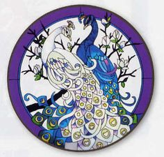 peacock, stained glass, purple