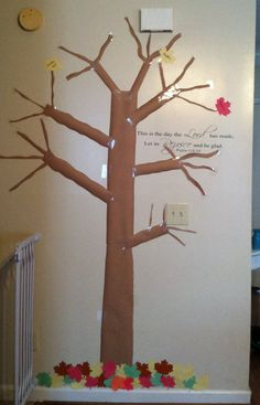 This was so easy to make! My son puts a new leaf up every day and writes what he's thankful for on it!