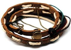 Adjustable Bracelet Cuff made of Brown Leather by sevenvsxiao, $8.50