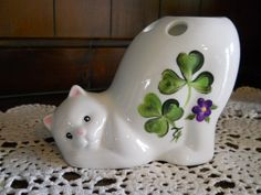 St. Patricks Irish Clover/violet Cat Tooth Brush Holder.