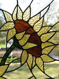 sunflower stained glass, glass idea, stain glass, glass menageri, miscellan glass