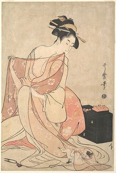 A Woman and a Cat | ink and color painting by Kitagawa Utamaro