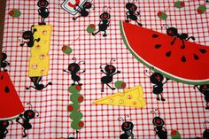 1 FQ Picnic ants fabric Rare OOP VHTF by YarnDiet on Etsy, $9.95