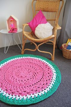 How beautiful is this Crochet Watermelon Rug by yellowdandy on Etsy, $165.00