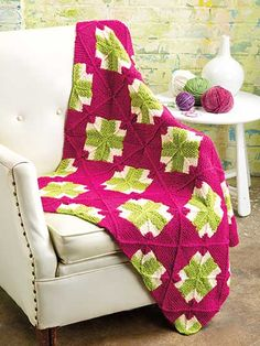 Knitting - Afghan & Throw Patterns - Squares & Crosses