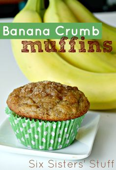 Banana Crumb Muffins from SixSistersStuff.com.  The perfect way to use up your brown bananas! #recipes #banana #muffins