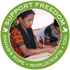 @WorldCrafts Support Freedom Stories {Rahab's Rope ~ India} When Mary to left the orphanage she was deceived by an offer of marriage and found herself instead in a brothel. She escaped & tried to commit suicide multiple times. A member of Rahab's Rope artisan group found her dying in the street & brought her to the center. Many young women like Mary have found a lifeline at Rahab's Rope, where they discover new opportunities as they make handcrafted jewelry. #fairtrade #supportfreedom