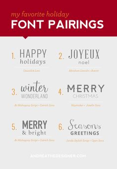 My Favorite Holiday Font Pairings | Andrea the Designer