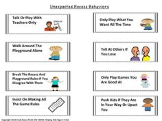 KID CODES: Expected vs. Unexpected Behavior During Recess Activity. The concept in this activity is adapted from the work of Michelle Garcia-Winner, SLP. It is a great way to teach children about Expected recess behaviors. Follow this lesson up with recess support for those who struggle with the very important social time of recess. When not in use, this makes a great visual to keep on your wall.