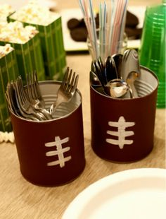 Superbowl party idea?    tin cans into football silverware holders