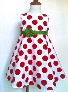 Toddler Christmas Dress Red and White Polka Dots with Green Belt Sizes 2T - 4T Only by 8th Day Studio on Etsy, $58.00