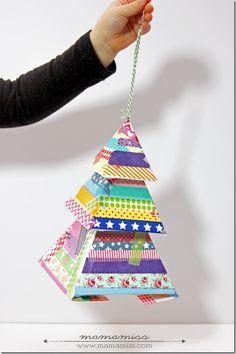 holiday decor: Washi Tape Evergreen Tree | @mamamissblog #freeprintable #washitapeprojects