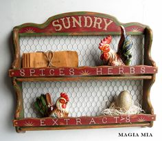 Magia Mia: Chicken Wire Mercantile Spice Rack....Chalk Paint Transformation