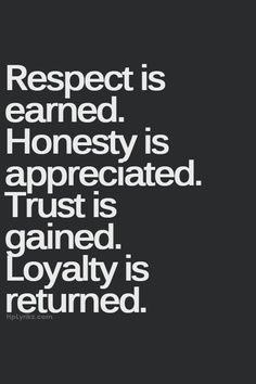 Respect is earned. Honesty is appreciated. Trust is gained. Loyalty is returned. truth | quote | work quotes | success quotes | integrity quote