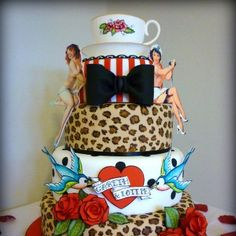 SO ME!!!!!! Its my 30th birthday next year!!! Now everyone who loves me has lots of time to get this cake ready!!! lol Tattoo Cake with swallow, leopard & rose detail