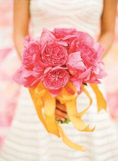 gorgeous hot pink garden rose #bouquet | KT Merry #wedding