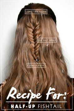 half-up fishtail braid
