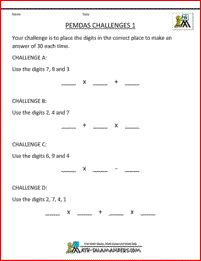 PEMDAS Challenges 1 - a useful sheet to extend your more able 5th grade students.