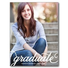 BOLD SCRIPT 2 | GRADUATION INVITATION POST CARDS #graduation #classof2013