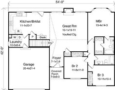 First Floor Plan of Ranch   House Plan 49137
