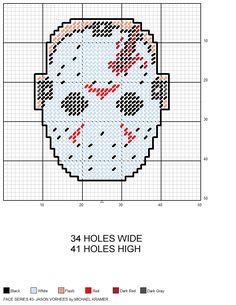 Face Series 1 #3- Jason Voorhees plastic canvas pattern by Michael Kramer