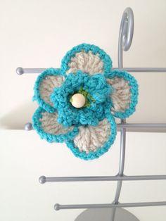 Turquoise Flower Crocheted Bracelet by AnnooCrochet on Etsy, $12.99