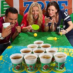 Beer pong rules! Click for more fave football party games ... Perfect for hilarious halftime competition!