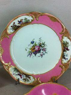 Sèvres porcelain; plates in rose Pompadour  color