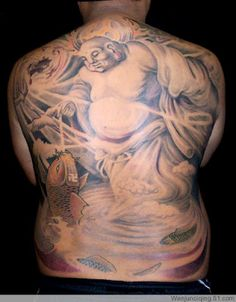 Full back, good light and shadow on this #Buddha #tattoo