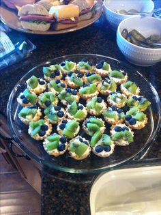 Seahawks dessert  Pastry shell, Greek yogurt, kiwis & blueberries!