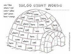 igloo color a sight word