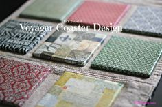A simple drink coaster DIY tutorial using Voyager Scrapbook paper and bathroom tiles! | PinkWhen.com