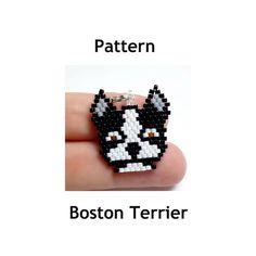 Boston Terrier Dog  Beading Pattern  - Brick Stitch