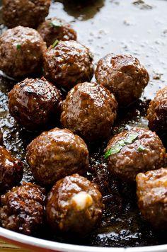 Cheese stuffed meatballs coated with honey and pomegranate molasses | giverecipe.com | #meatballs #pomegranatemolasses #lamb #beef #kasar