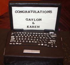 Chocolate computer groom's cake
