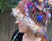 handknit slouchy hat silk wool rustic embellished fairy hat - anastasia's enchanted forest gypsy sister