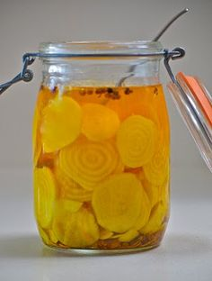 The blog Canned combines golden beets with tangerines for a mildly sweet and tangy pickle. YUMMY!