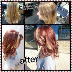 Red with Blonde Highlights. Done at Cloud Nine Day Spa and Salon. www.cloudninesaukcity.com