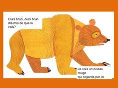 """Bill Martin and his classic children's book, """"Brown Bear, Brown Bear , what do you see?... Super belle histoire pour la reconnaissance des couleurs et des noms d'animaux. Structure répétitive"""
