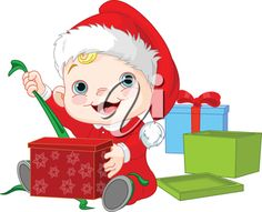 iCLIPART - Royalty Free Clipart Image of a Baby Opening a Christmas Present
