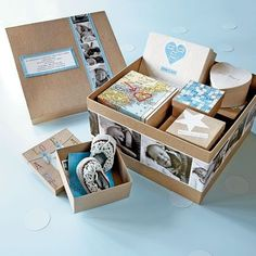 The Day You Were Born Box ~ sort your memorabilia -- and memories -- into a collection of themed boxes: the birth story, the pregnancy, the news of the day, and so on. You can make it as big or as small as you like, depending on how many themes you want to include, then decorate... think of it as a sort of interactive baby album