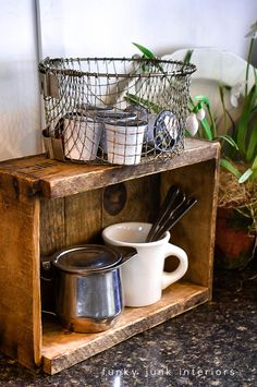 kitchen storage, coffe station, small kitchens, basket, pod storag, crate, storage ideas, coffee stations, deep fryer