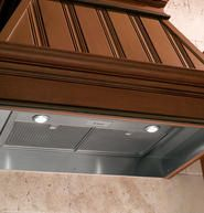 """KITCHEN - GE Monogram® - Sponsor of Cool Energy House - GE Monogram® 36"""" Custom Hood Insert: Single-Blower Ventilation with 640 CFM, Control Panel with Remote-Mount Option, Two Halogen Lights,  Two Stainless Steel Mesh Filters"""