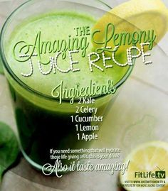 The Amazing Lemony Juice.  This juice can help hydrate those life giving cells to give you an energized and refreshed body! #kale #celery #cucumber #lemon #apple