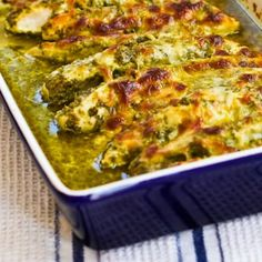 Easy Recipe for Baked Pesto Chicken is definitely one of the most popular SBD Phase One recipes on my blog! [from Kalyn's Kitchen] #LowCarb  #GlutenFree