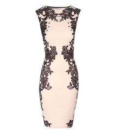 Jane Norman Lace print embellished bodycon dress//