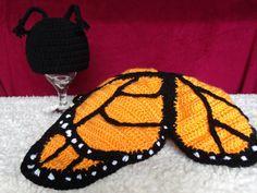 crochet photo prop 'Monarch Butterfly' hat by momscrochetcorner, $40.00