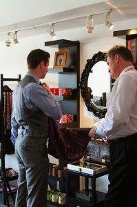 Fabric selection for a custom bespoke necktie with then brand ambassador of Balvenie Scotch.