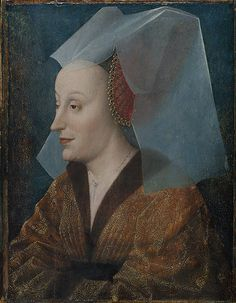 Portrait of a Noblewoman, Probably Isabella of Portugal (1397-1472) circa mid-fifteenth century. EXCERPT: She is shown wearing gold brocade and a hat encrusted with jewels—a style of dress that corresponds to mid-fifteenth-century fashion.