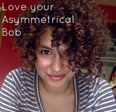 Love your Curly Asymmetrical (and possibly inverted) Bob! Short back, long front. Add even more interest with some asymmetrical bangs! Asymmetrical Bangs, Curly Inverted Bob, Curly Asymmetrical Hair, Beauty Ideas, Inverted Bobs, Hair Beauty, Asymmetrical Hairstyles, Asymmetrical Bobs, Asymmetrical Short Curly Hair
